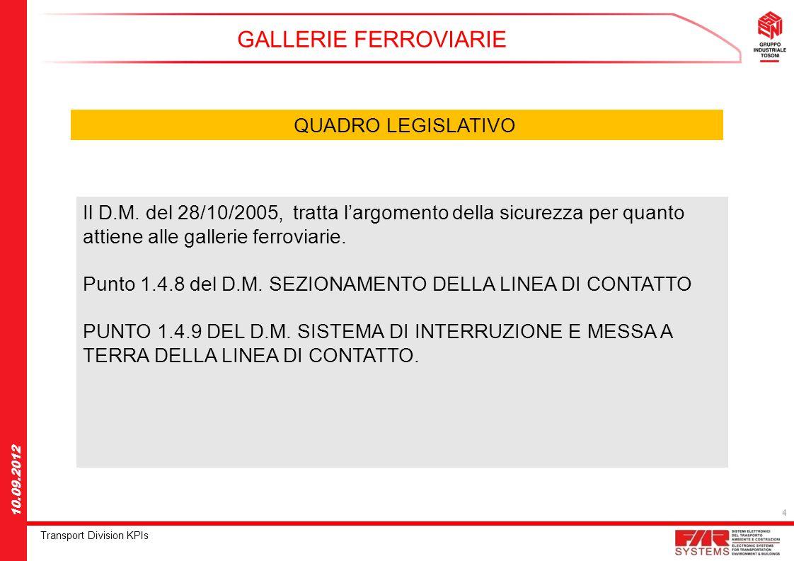 4 Transport Division KPIs 10.09.2012 GALLERIE FERROVIARIE QUADRO LEGISLATIVO Il D.M. del 28/10/2005, tratta largomento della sicurezza per quanto atti