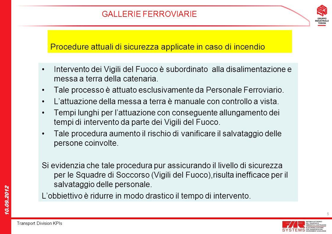 5 Transport Division KPIs 10.09.2012 Intervento dei Vigili del Fuoco è subordinato alla disalimentazione e messa a terra della catenaria. Tale process