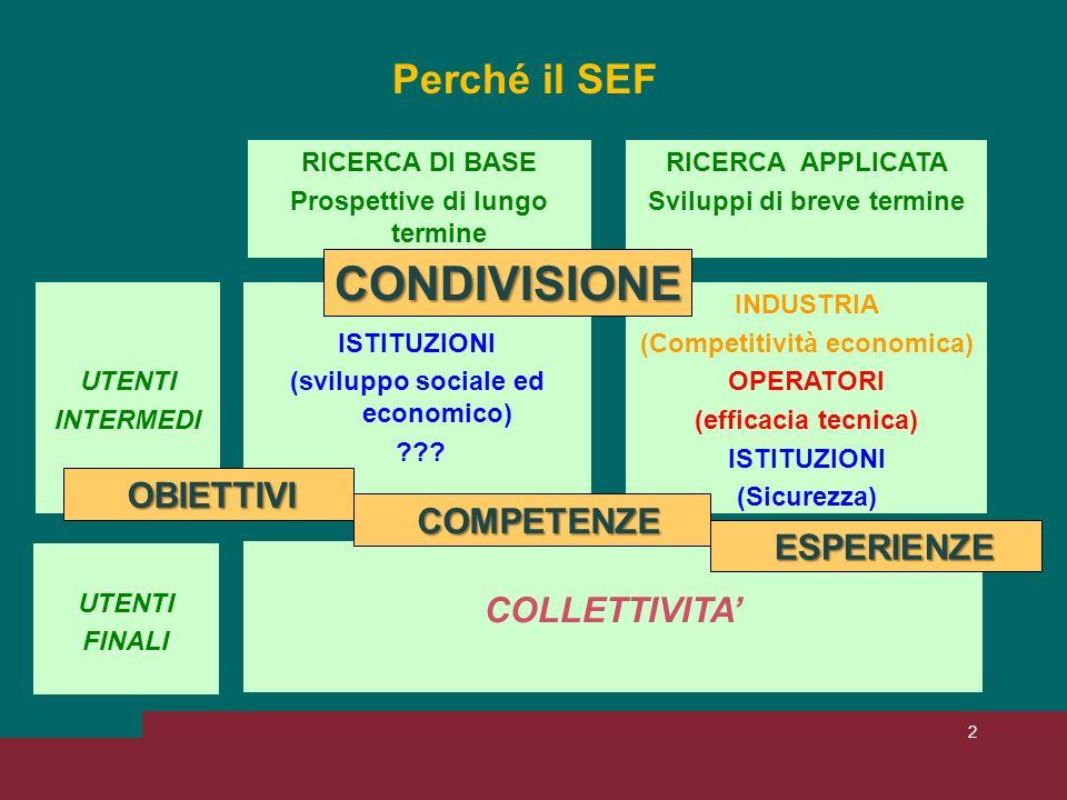2 Perché il SEF RICERCA DI BASE Prospettive di lungo termine RICERCA APPLICATA Sviluppi di breve termine UTENTI INTERMEDI ISTITUZIONI (sviluppo sociale ed economico) .