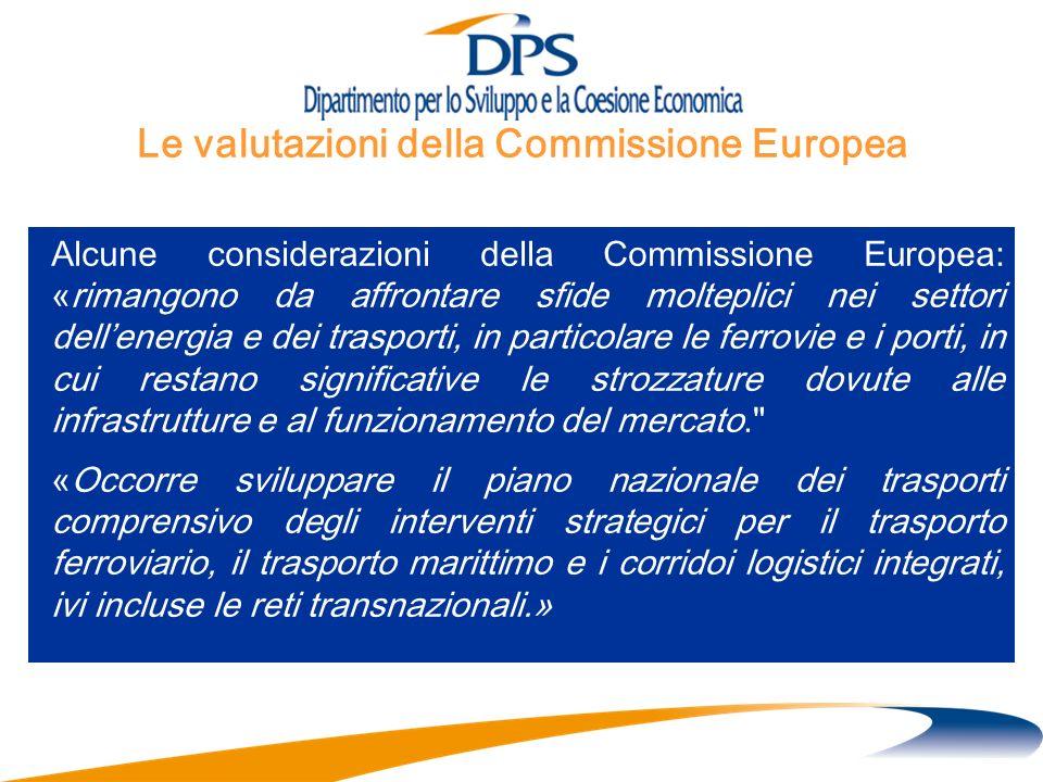 Alcune considerazioni della Commissione Europea: «rimangono da affrontare sfide molteplici nei settori dellenergia e dei trasporti, in particolare le ferrovie e i porti, in cui restano significative le strozzature dovute alle infrastrutture e al funzionamento del mercato. «Occorre sviluppare il piano nazionale dei trasporti comprensivo degli interventi strategici per il trasporto ferroviario, il trasporto marittimo e i corridoi logistici integrati, ivi incluse le reti transnazionali.» Le valutazioni della Commissione Europea