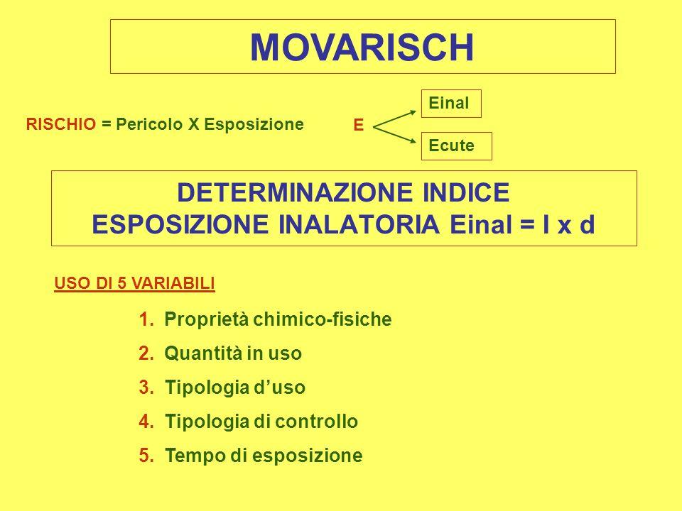 MOVARISCH RISCHIO = Pericolo X Esposizione DETERMINAZIONE INDICE ESPOSIZIONE INALATORIA Einal = I x d USO DI 5 VARIABILI 1.Proprietà chimico-fisiche 2.Quantità in uso 3.Tipologia duso 4.Tipologia di controllo 5.Tempo di esposizione E Einal Ecute