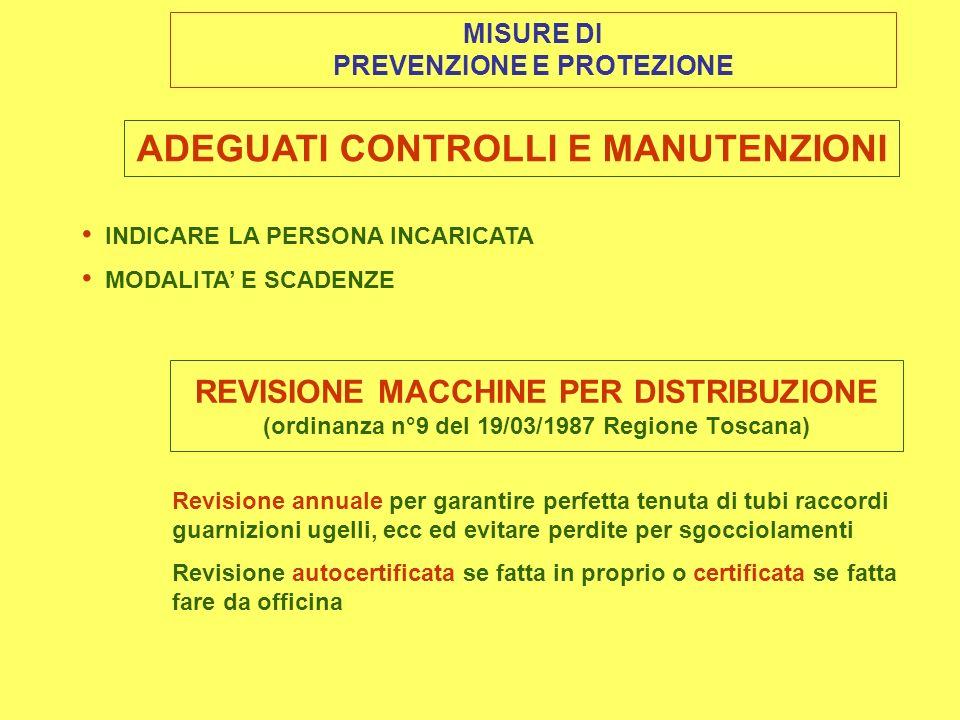 MISURE DI PREVENZIONE E PROTEZIONE ADEGUATI CONTROLLI E MANUTENZIONI INDICARE LA PERSONA INCARICATA MODALITA E SCADENZE REVISIONE MACCHINE PER DISTRIBUZIONE (ordinanza n°9 del 19/03/1987 Regione Toscana) Revisione annuale per garantire perfetta tenuta di tubi raccordi guarnizioni ugelli, ecc ed evitare perdite per sgocciolamenti Revisione autocertificata se fatta in proprio o certificata se fatta fare da officina