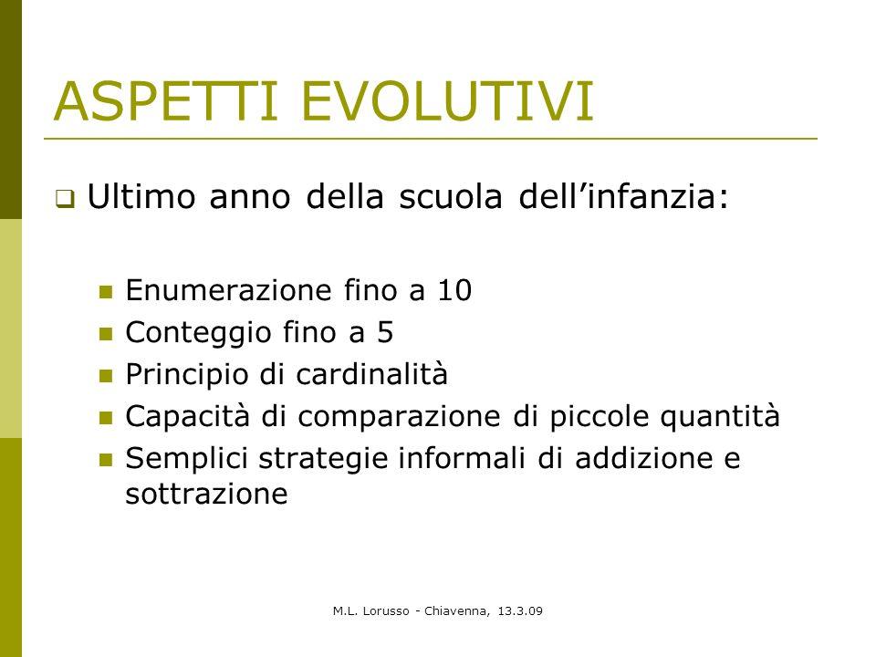 M.L. Lorusso - Chiavenna, 13.3.09 ASPETTI EVOLUTIVI Ultimo anno della scuola dellinfanzia: Enumerazione fino a 10 Conteggio fino a 5 Principio di card