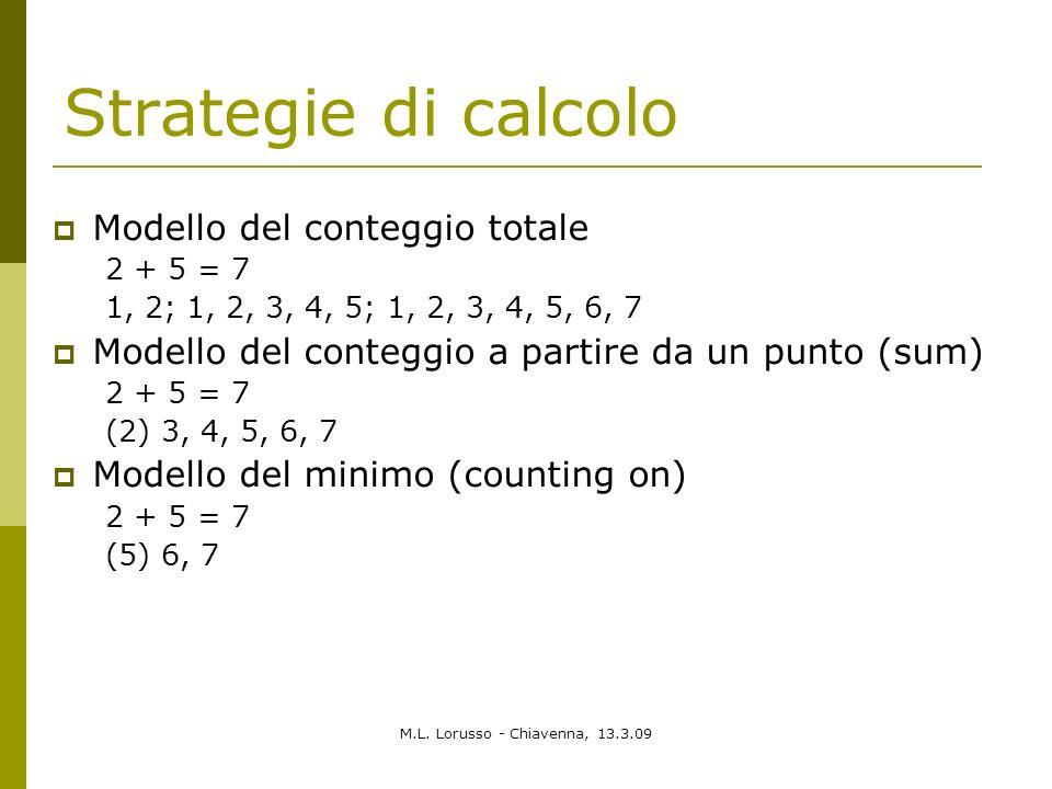M.L. Lorusso - Chiavenna, 13.3.09 Strategie di calcolo Modello del conteggio totale 2 + 5 = 7 1, 2; 1, 2, 3, 4, 5; 1, 2, 3, 4, 5, 6, 7 Modello del con