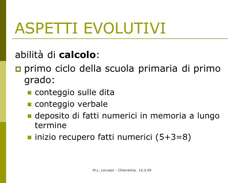 M.L. Lorusso - Chiavenna, 13.3.09 ASPETTI EVOLUTIVI abilità di calcolo: primo ciclo della scuola primaria di primo grado: conteggio sulle dita contegg