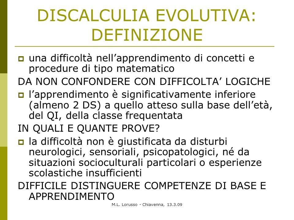 M.L. Lorusso - Chiavenna, 13.3.09 DISCALCULIA EVOLUTIVA: DEFINIZIONE una difficoltà nellapprendimento di concetti e procedure di tipo matematico DA NO