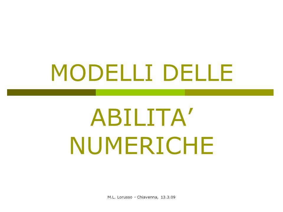 M.L. Lorusso - Chiavenna, 13.3.09 MODELLI DELLE ABILITA NUMERICHE