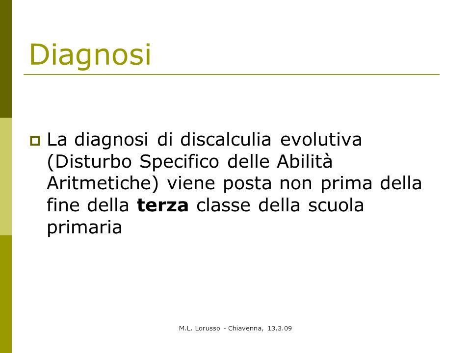 M.L. Lorusso - Chiavenna, 13.3.09 Diagnosi La diagnosi di discalculia evolutiva (Disturbo Specifico delle Abilità Aritmetiche) viene posta non prima d