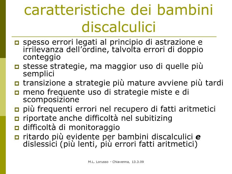 M.L. Lorusso - Chiavenna, 13.3.09 caratteristiche dei bambini discalculici spesso errori legati al principio di astrazione e irrilevanza dellordine, t