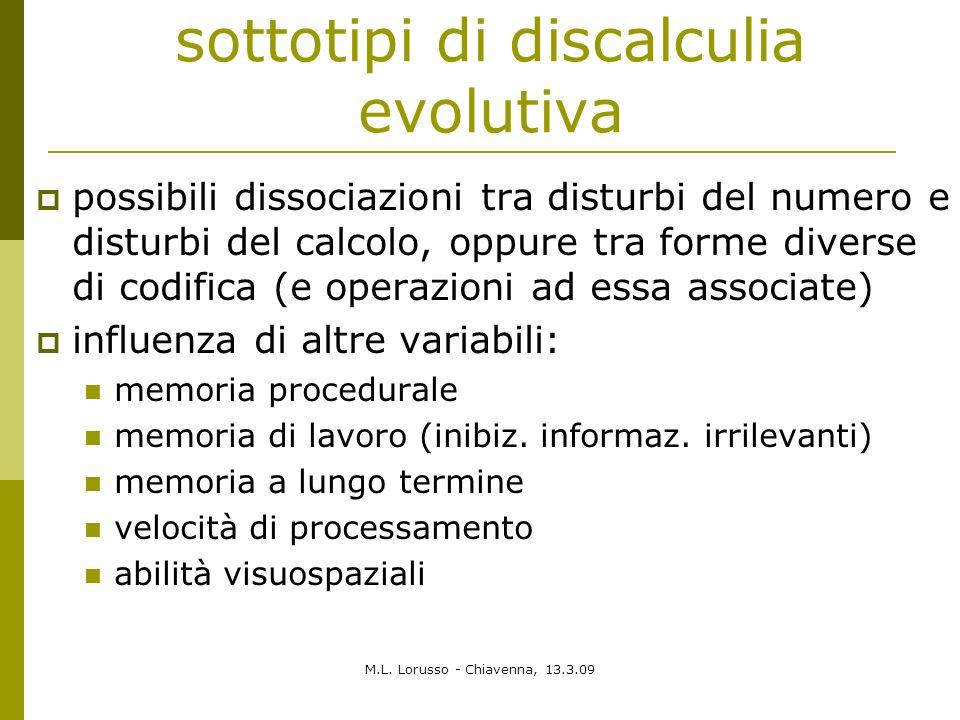 M.L. Lorusso - Chiavenna, 13.3.09 sottotipi di discalculia evolutiva possibili dissociazioni tra disturbi del numero e disturbi del calcolo, oppure tr