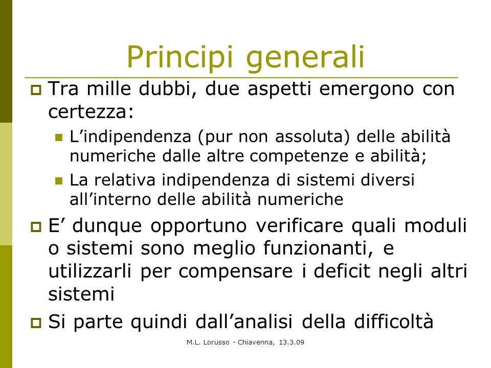 M.L. Lorusso - Chiavenna, 13.3.09 Principi generali Tra mille dubbi, due aspetti emergono con certezza: Lindipendenza (pur non assoluta) delle abilità