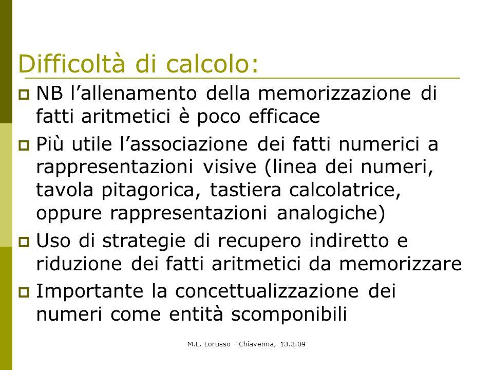 M.L. Lorusso - Chiavenna, 13.3.09 NB lallenamento della memorizzazione di fatti aritmetici è poco efficace Più utile lassociazione dei fatti numerici