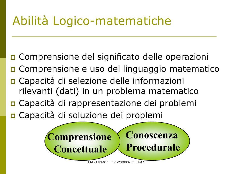 M.L. Lorusso - Chiavenna, 13.3.09 Abilità Logico-matematiche Comprensione del significato delle operazioni Comprensione e uso del linguaggio matematic