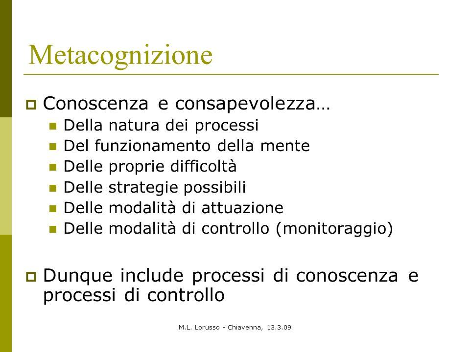 M.L. Lorusso - Chiavenna, 13.3.09 Metacognizione Conoscenza e consapevolezza… Della natura dei processi Del funzionamento della mente Delle proprie di