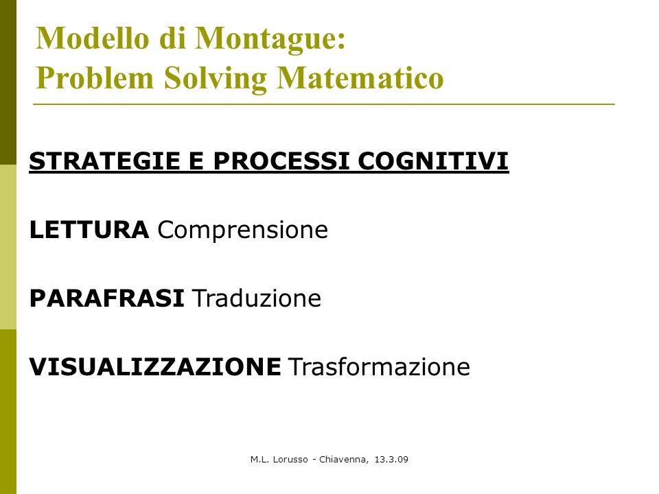M.L. Lorusso - Chiavenna, 13.3.09 Modello di Montague: Problem Solving Matematico STRATEGIE E PROCESSI COGNITIVI LETTURA Comprensione PARAFRASI Traduz