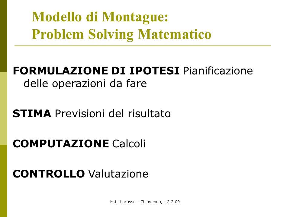 M.L. Lorusso - Chiavenna, 13.3.09 Modello di Montague: Problem Solving Matematico FORMULAZIONE DI IPOTESI Pianificazione delle operazioni da fare STIM
