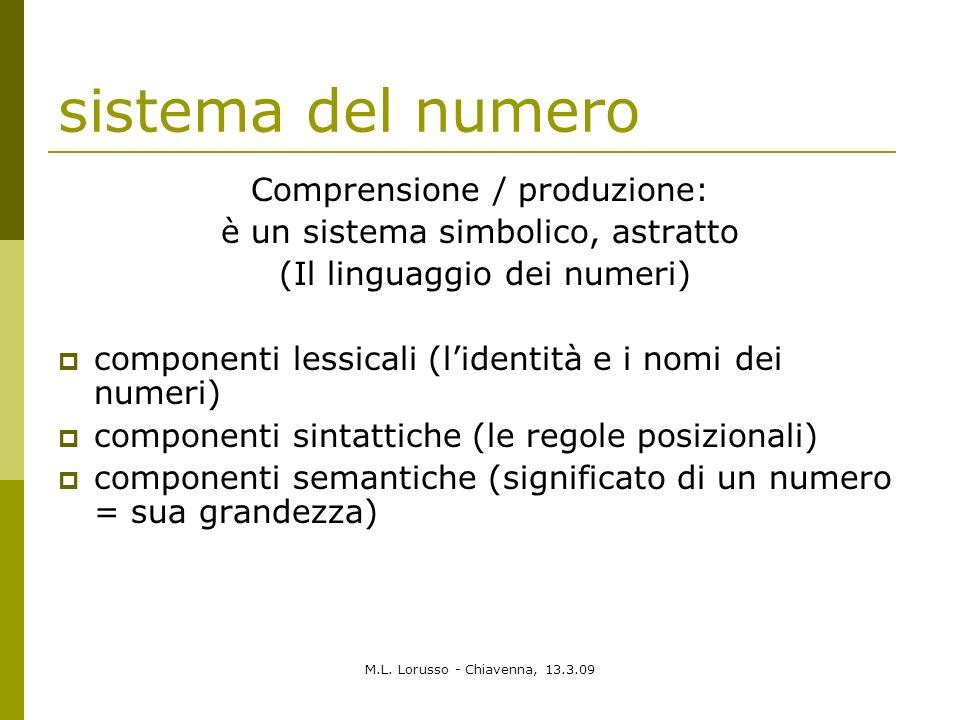 M.L. Lorusso - Chiavenna, 13.3.09 sistema del numero Comprensione / produzione: è un sistema simbolico, astratto (Il linguaggio dei numeri) componenti