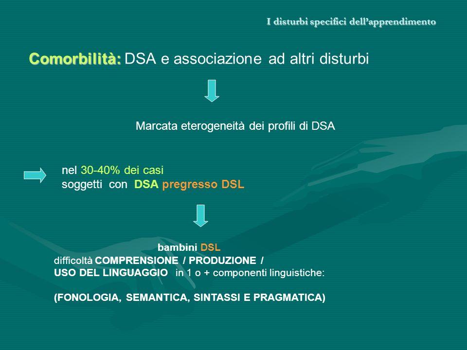 I disturbi specifici dellapprendimento Comorbilità: Comorbilità: DSA e associazione ad altri disturbi nel 30-40% dei casi soggetti con DSA pregresso D