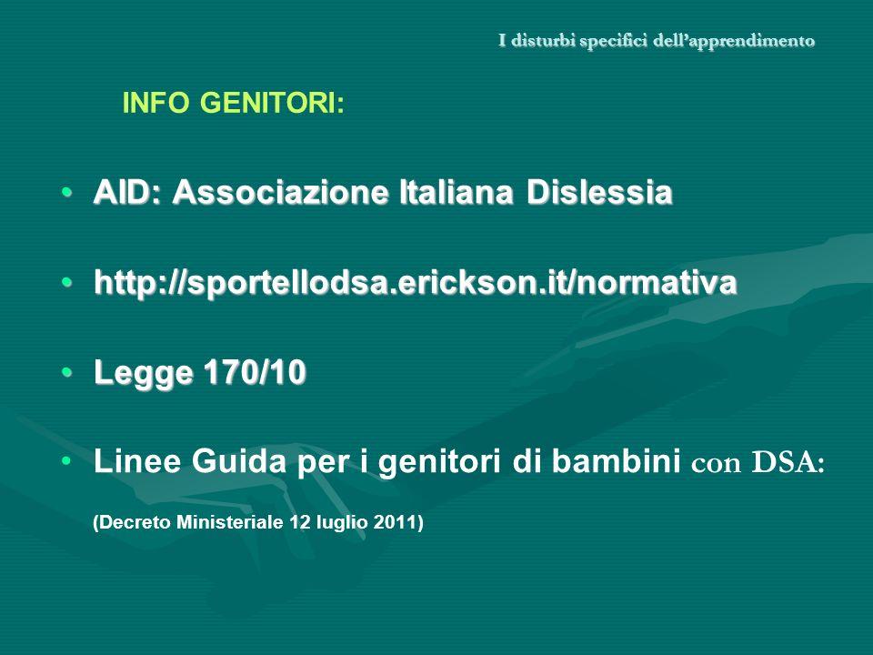 I disturbi specifici dellapprendimento AID: Associazione Italiana DislessiaAID: Associazione Italiana Dislessia http://sportellodsa.erickson.it/normat