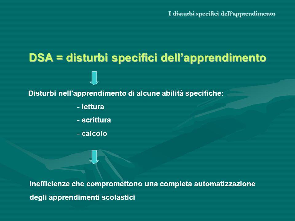 I disturbi specifici dellapprendimento DSA = disturbi specifici dellapprendimento Disturbi nell'apprendimento di alcune abilità specifiche: - lettura