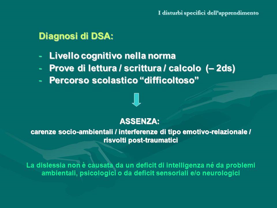 I disturbi specifici dellapprendimento Diagnosi di DSA: -Livello cognitivo nella norma -Prove di lettura / scrittura / calcolo (– 2ds) -Percorso scola