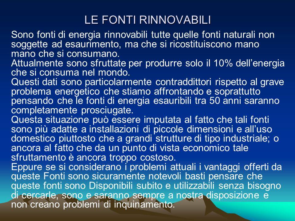 LE FONTI RINNOVABILI Sono fonti di energia rinnovabili tutte quelle fonti naturali non soggette ad esaurimento, ma che si ricostituiscono mano mano ch