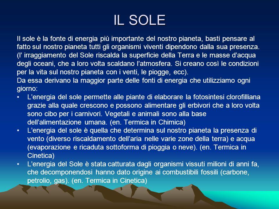 IL SOLE Il sole è la fonte di energia più importante del nostro pianeta, basti pensare al fatto sul nostro pianeta tutti gli organismi viventi dipendo