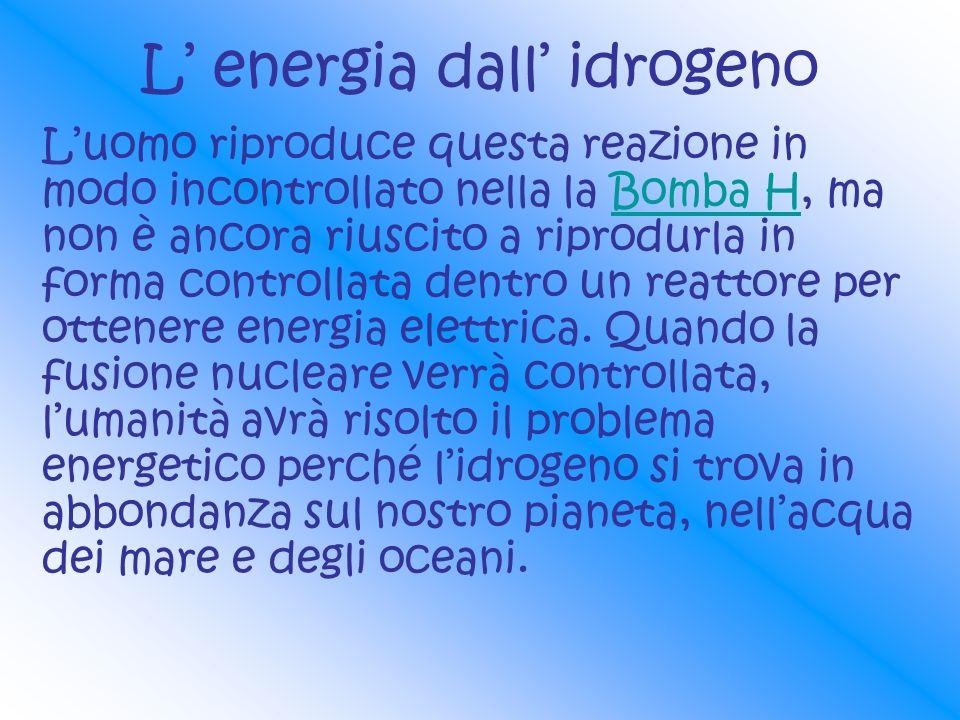 L energia dall idrogeno Luomo riproduce questa reazione in modo incontrollato nella la Bomba H, ma non è ancora riuscito a riprodurla in forma control