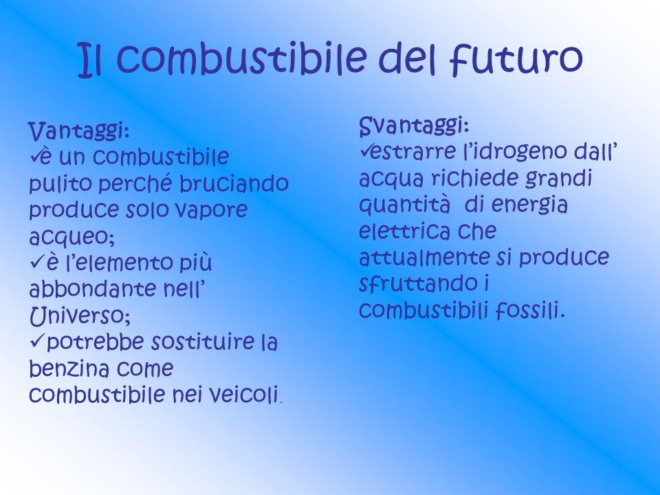 Il combustibile del futuro Vantaggi: è un combustibile pulito perché bruciando produce solo vapore acqueo; è lelemento più abbondante nell Universo; p