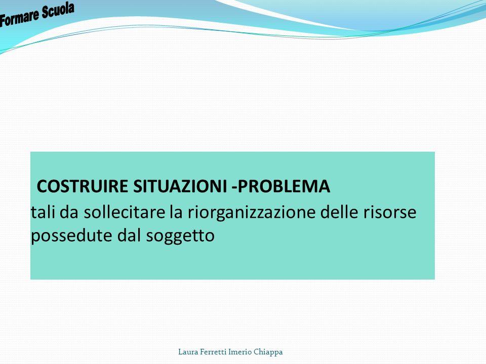 COSTRUIRE SITUAZIONI -PROBLEMA tali da sollecitare la riorganizzazione delle risorse possedute dal soggetto Laura Ferretti Imerio Chiappa