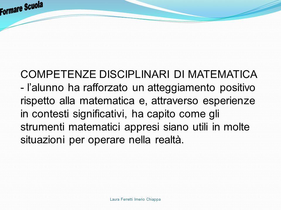 COMPETENZE DISCIPLINARI DI MATEMATICA - lalunno ha rafforzato un atteggiamento positivo rispetto alla matematica e, attraverso esperienze in contesti