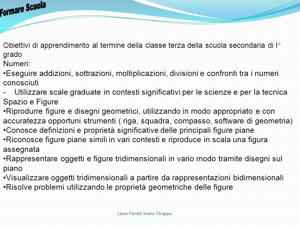 Obiettivi di apprendimento al termine della classe terza della scuola secondaria di I° grado Numeri: Eseguire addizioni, sottrazioni, moltiplicazioni,