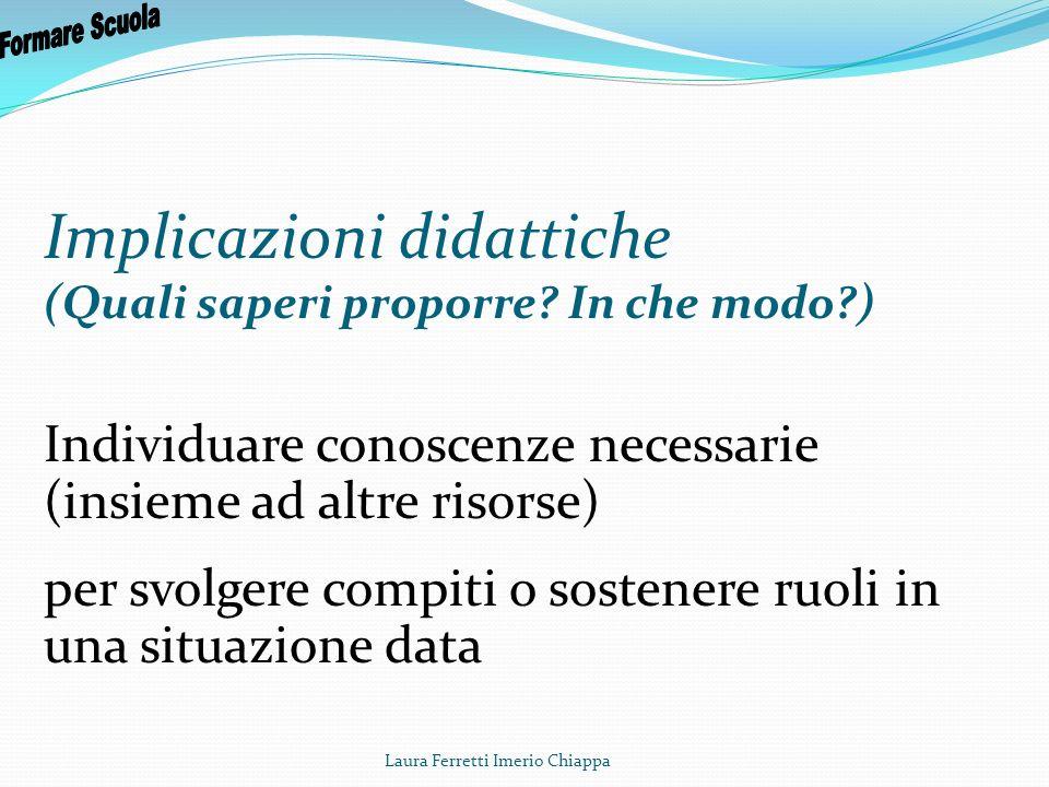 Laura Ferretti Imerio Chiappa Proporre saperi di ordine metodologico o generativi Favorire la stabilizzazione delle conoscenze Favorire lorganizzazione delle conoscenze (Roegiers, 2004)