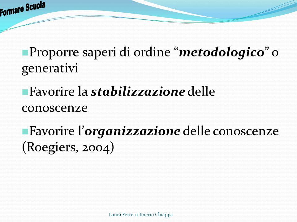 Laura Ferretti Imerio Chiappa Proporre saperi di ordine metodologico o generativi Favorire la stabilizzazione delle conoscenze Favorire lorganizzazion