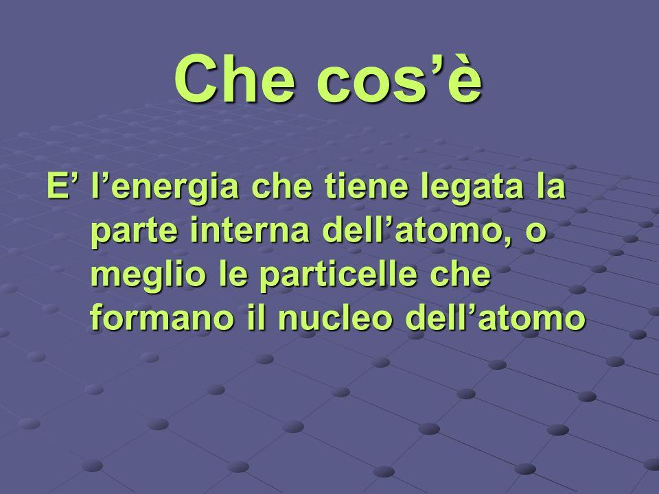 Che cosè E lenergia che tiene legata la parte interna dellatomo, o meglio le particelle che formano il nucleo dellatomo