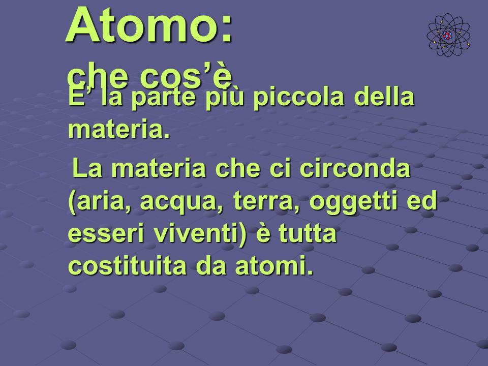 Atomo: che cosè E la parte più piccola della materia. La materia che ci circonda (aria, acqua, terra, oggetti ed esseri viventi) è tutta costituita da