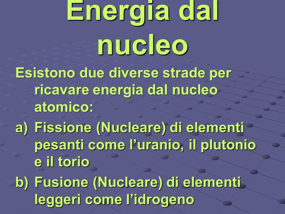 Energia dal nucleo Esistono due diverse strade per ricavare energia dal nucleo atomico: Fissione (Nucleare) di elementi pesanti come luranio, il pluto