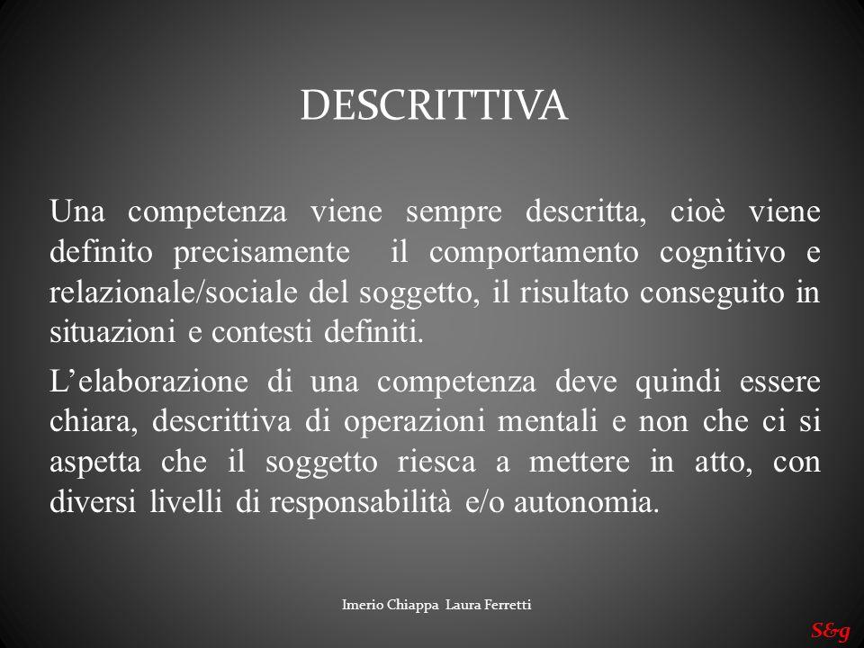 Imerio Chiappa Laura Ferretti S&g Una competenza viene sempre descritta, cioè viene definito precisamente il comportamento cognitivo e relazionale/soc