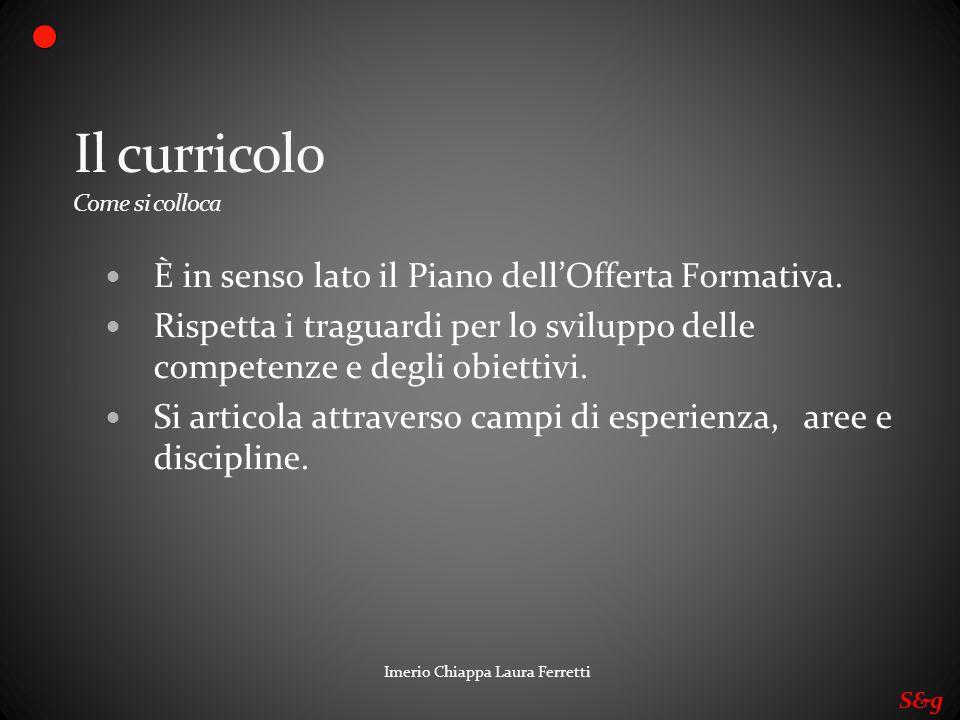 Imerio Chiappa Laura Ferretti Il curricolo Come si colloca È in senso lato il Piano dellOfferta Formativa. Rispetta i traguardi per lo sviluppo delle