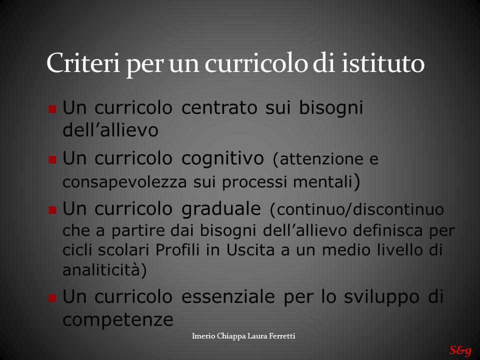 Imerio Chiappa Laura Ferretti Criteri per un curricolo di istituto Un curricolo centrato sui bisogni dellallievo Un curricolo cognitivo (attenzione e