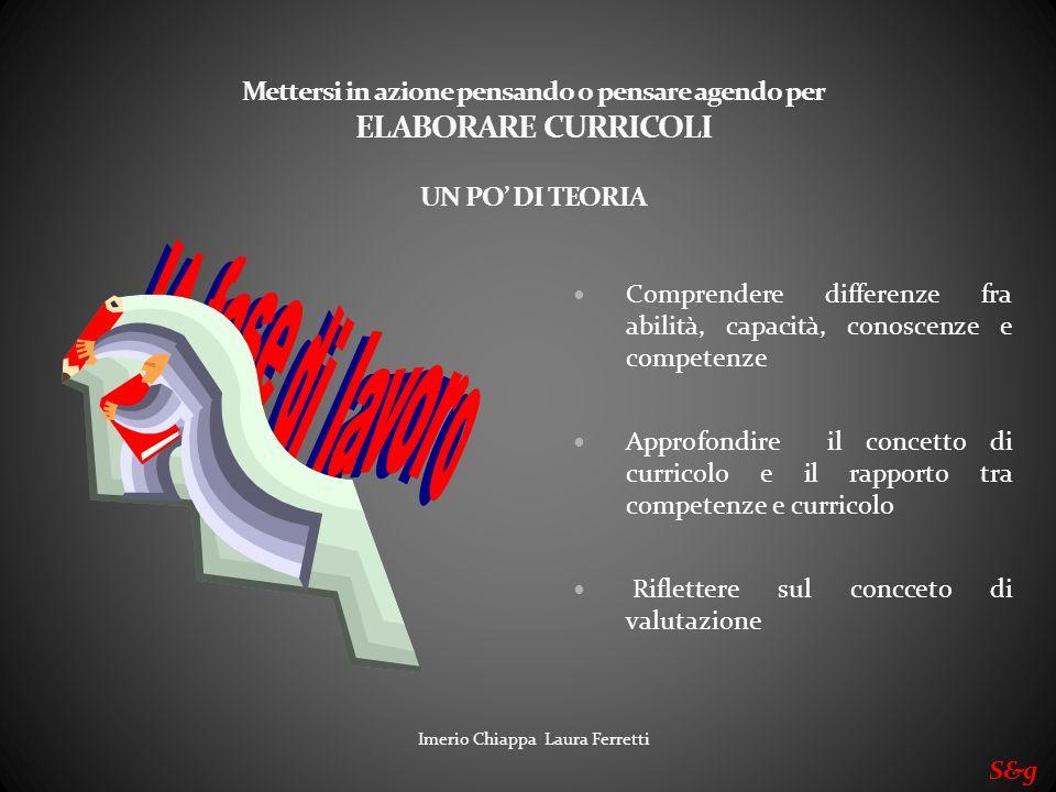 Imerio Chiappa Laura Ferretti Mettersi in azione pensando o pensare agendo per ELABORARE CURRICOLI UN PO DI TEORIA Comprendere differenze fra abilità,