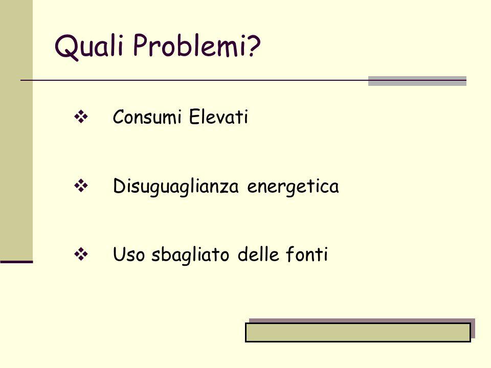 PROBLEMI 1) Consumi elevati La società attuale è una società che consuma tantissima energia.