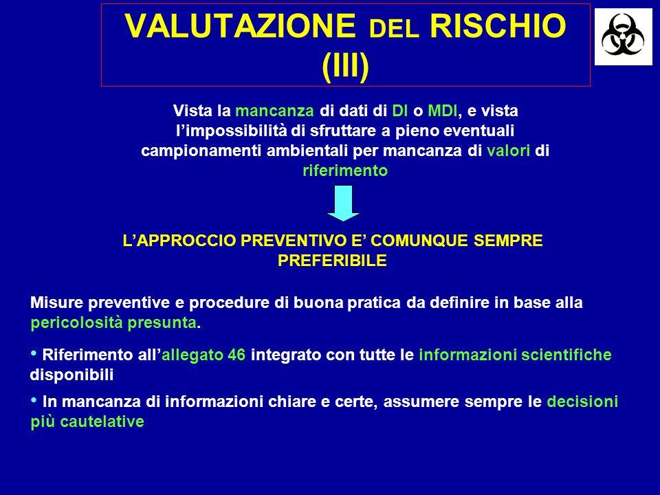 VALUTAZIONE DEL RISCHIO (III) LAPPROCCIO PREVENTIVO E COMUNQUE SEMPRE PREFERIBILE Misure preventive e procedure di buona pratica da definire in base alla pericolosità presunta.