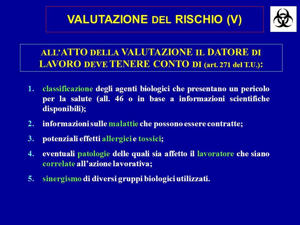 ALL ATTO DELLA VALUTAZIONE IL DATORE DI LAVORO DEVE TENERE CONTO DI (art. 271 del T.U.) : 1.classificazione degli agenti biologici che presentano un p