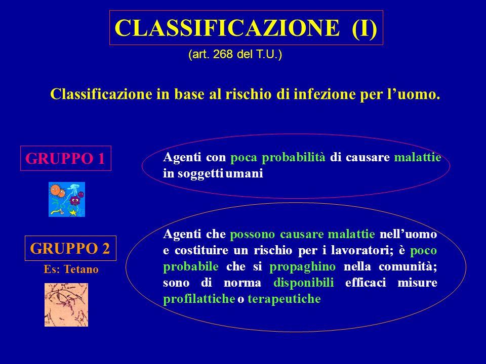 Classificazione in base al rischio di infezione per luomo. GRUPPO 1 GRUPPO 2 Agenti con poca probabilità di causare malattie in soggetti umani Agenti