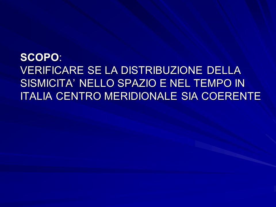 SCOPO: VERIFICARE SE LA DISTRIBUZIONE DELLA SISMICITA NELLO SPAZIO E NEL TEMPO IN ITALIA CENTRO MERIDIONALE SIA COERENTE