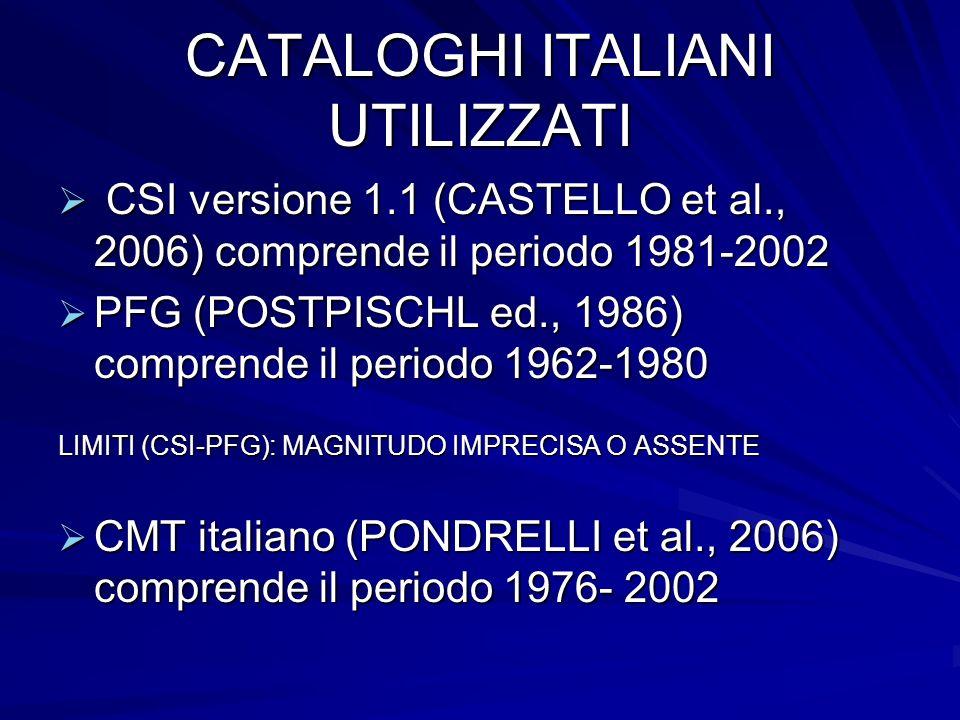 CATALOGHI ITALIANI UTILIZZATI CSI versione 1.1 (CASTELLO et al., 2006) comprende il periodo 1981-2002 CSI versione 1.1 (CASTELLO et al., 2006) comprende il periodo 1981-2002 PFG (POSTPISCHL ed., 1986) comprende il periodo 1962-1980 PFG (POSTPISCHL ed., 1986) comprende il periodo 1962-1980 LIMITI (CSI-PFG): MAGNITUDO IMPRECISA O ASSENTE CMT italiano (PONDRELLI et al., 2006) comprende il periodo 1976- 2002 CMT italiano (PONDRELLI et al., 2006) comprende il periodo 1976- 2002