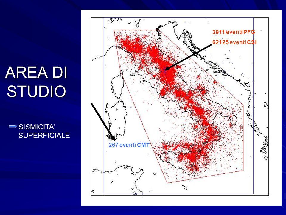 AREA DI STUDIO SISMICITA SUPERFICIALE 3911 eventi PSG 3911 eventi PFG 62125 eventi CSI 267 eventi CMT