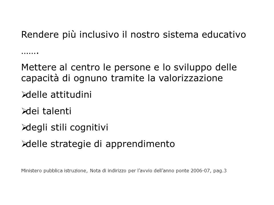 Rendere più inclusivo il nostro sistema educativo …….