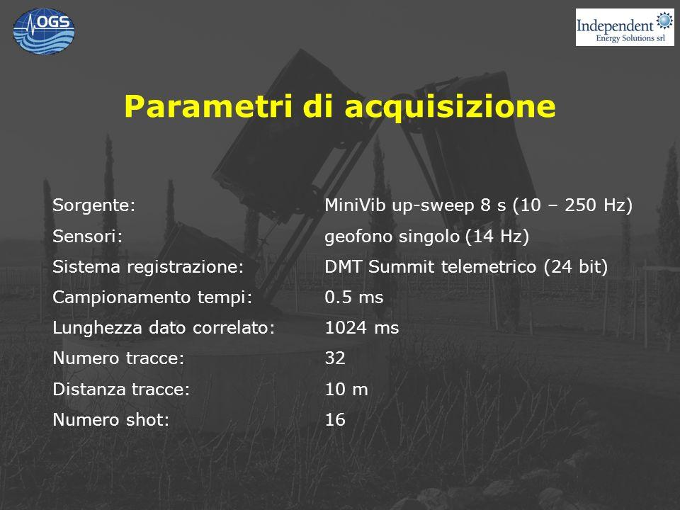 Parametri di acquisizione Sorgente:MiniVib up-sweep 8 s (10 – 250 Hz) Sensori:geofono singolo (14 Hz) Sistema registrazione:DMT Summit telemetrico (24 bit) Campionamento tempi:0.5 ms Lunghezza dato correlato:1024 ms Numero tracce:32 Distanza tracce:10 m Numero shot:16